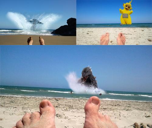 Godzilla en el mar.